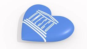 Καρδιά στα χρώματα και τα σύμβολα της ΟΥΝΕΣΚΟ στο άσπρο υπόβαθρο, βρόχος διανυσματική απεικόνιση