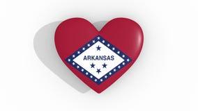 Καρδιά στα χρώματα της σημαίας του αμερικανικού κράτους Αρκάνσας, βρόχος απεικόνιση αποθεμάτων