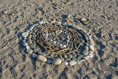 Καρδιά στην άμμο, σύμβολο της αγάπης, Νέα Ζηλανδία στοκ φωτογραφία