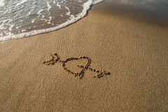Καρδιά στην άμμο Στοκ Εικόνες