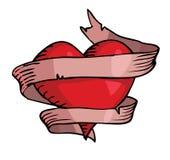 Καρδιά στην κορδέλλα Στοκ Εικόνες