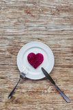 Καρδιά στο πιάτο Στοκ Εικόνες