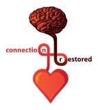 καρδιά σύνδεσης εγκεφάλ& διανυσματική απεικόνιση
