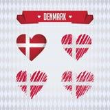 Καρδιά της Δανίας με τη σημαία μέσα Διανυσματικά γραφικά σύμβολα Grunge απεικόνιση αποθεμάτων