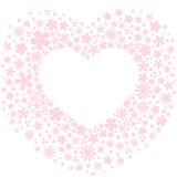 Καρδιά φιαγμένη από ανοικτό ροζ λουλούδια Στοκ Εικόνα