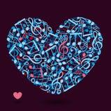 Καρδιά φιαγμένη από σημειώσεις μουσικής Στοκ Εικόνες