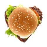 καρδιά χάμπουργκερ Στοκ εικόνα με δικαίωμα ελεύθερης χρήσης