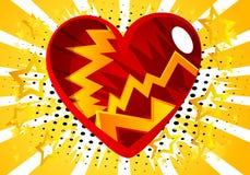 Καρδιά ύφους κόμικς, αφηρημένο σύμβολο αγάπης διανυσματική απεικόνιση
