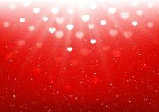Καρδιά bokeh στο κόκκινο υπόβαθρο διανυσματική απεικόνιση