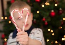 Καρδιά Candycanes Χριστουγέννων Στοκ Φωτογραφία