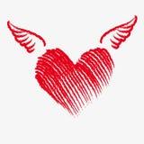Καρδιά Cupid με τα φτερά απεικόνιση αποθεμάτων