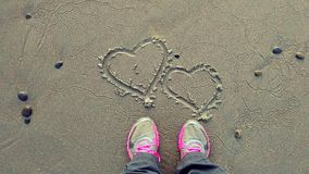 Καρδιές άμμου στην ανατολή στοκ εικόνες με δικαίωμα ελεύθερης χρήσης