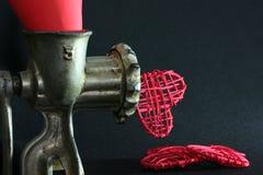 Καρδιές από ένα μηχανή κοπής κιμά Στοκ Φωτογραφίες