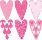 Καρδιές βαλεντίνων που τίθενται Στοκ Εικόνες