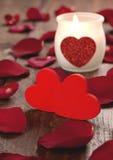 καρδιές δύο κεριών Στοκ Εικόνες