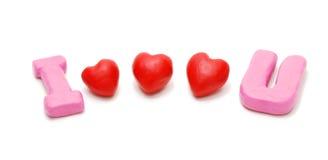 καρδιές ι αγάπη τρία εσείς Στοκ εικόνα με δικαίωμα ελεύθερης χρήσης
