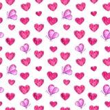 Καρδιές και ρόδινο άνευ ραφής σχέδιο πεταλούδων, απεικόνιση watercolor ελεύθερη απεικόνιση δικαιώματος