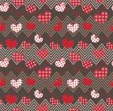 Καρδιές και τρεκλίσματα σε ένα σκοτεινό υπόβαθρο άνευ ραφής Στοκ Εικόνα