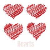 Καρδιές κακογραφίας, κόκκινες καρδιές σχεδίων, διανυσματική απεικόνιση απεικόνιση αποθεμάτων