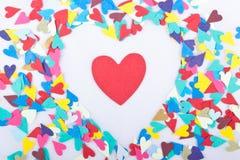 καρδιές καρδιών κομφετί Στοκ φωτογραφίες με δικαίωμα ελεύθερης χρήσης