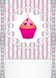 καρδιές καρτών cupcake Στοκ εικόνες με δικαίωμα ελεύθερης χρήσης
