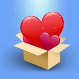 καρδιές κιβωτίων Στοκ Φωτογραφία