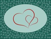 Καρδιές με τα τριαντάφυλλα Στοιχείο σχεδίου για την ημέρα καρτών ή βαλεντίνων ` s Διάστημα για το κείμενο Στοκ Εικόνες