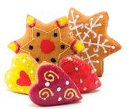 καρδιές μπισκότων αστερίσ& Στοκ φωτογραφίες με δικαίωμα ελεύθερης χρήσης