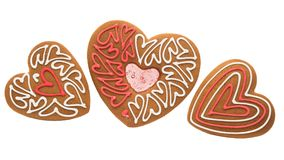 Καρδιές μπισκότων που απομονώνονται Στοκ Φωτογραφία