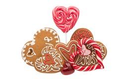 Καρδιές μπισκότων που απομονώνονται Στοκ φωτογραφία με δικαίωμα ελεύθερης χρήσης
