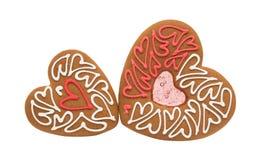 Καρδιές μπισκότων που απομονώνονται Στοκ Εικόνες