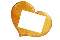 καρδιές πλαισίων μορφής ξύλινες Στοκ Εικόνες