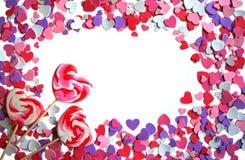 καρδιές πλαισίων lollipops Στοκ Φωτογραφία