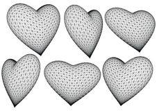 καρδιές που καθίστανται τρισδιάστατες διανυσματικές απεικόνιση αποθεμάτων