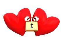 καρδιές που κλειδώνοντ&alph Στοκ φωτογραφία με δικαίωμα ελεύθερης χρήσης