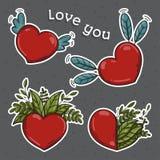 καρδιές που τίθενται η τρισδιάστατη αφηρημένη λεπτομερής γεια ημέρα απομονωμένη αγάπη ανασκόπησης καθιστά το βαλεντίνο συμβόλων R Στοκ Φωτογραφίες