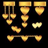 καρδιές που τίθενται χρυ& Στοκ Εικόνες