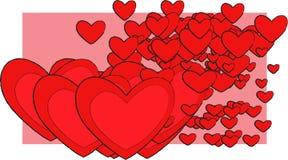 Καρδιές σε ένα ρόδινο ύφος κτυπημάτων σημαδιών ορθογωνίων ρομαντικό ελεύθερη απεικόνιση δικαιώματος