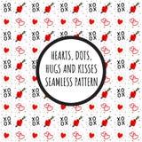 Καρδιές, σημεία, XOXO - αγκαλιάσματα και σχέδιο φιλιών διανυσματική απεικόνιση