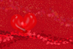 Καρδιές στην κόκκινη ανασκόπηση Στοκ Εικόνα