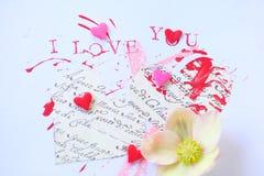 Καρδιές σ' αγαπώ με το χρώμα Στοκ εικόνα με δικαίωμα ελεύθερης χρήσης