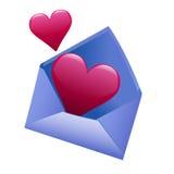 καρδιές φακέλων Στοκ φωτογραφία με δικαίωμα ελεύθερης χρήσης