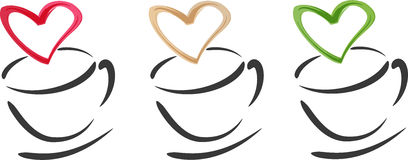 καρδιές φλυτζανιών καφέ Στοκ φωτογραφίες με δικαίωμα ελεύθερης χρήσης