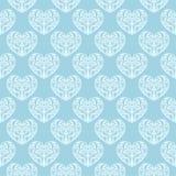 Καρδιές ως άνευ ραφής σχέδιο Μπλε και άσπρο ρομαντικό υπόβαθρο Στοκ Φωτογραφία
