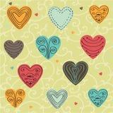 Καρδιές Doodle που τίθενται Στοκ Φωτογραφίες