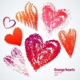 Καρδιές Grunge στην άσπρη ανασκόπηση. Διανυσματικό σύνολο Στοκ Εικόνα