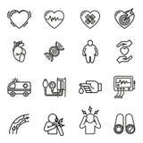 Καρδιακές παθήσεις, επίθεση καρδιών και εικονίδια συμπτωμάτων καθορισμένες διανυσματική απεικόνιση