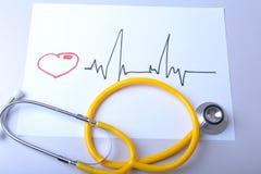 Καρδιογράφημα με το ιατρικό παλτό στηθοσκοπίων και γιατρών στον πίνακα Στοκ εικόνα με δικαίωμα ελεύθερης χρήσης
