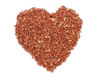 Καρδιών μορφής ρύζι που απομονώνεται καφετί Στοκ εικόνες με δικαίωμα ελεύθερης χρήσης