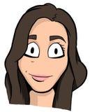 Καρικατούρα του κοριτσιού brunette Στοκ φωτογραφία με δικαίωμα ελεύθερης χρήσης